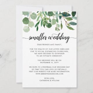 Chic Small Wedding Downsize Change Plans Foliage Announcement