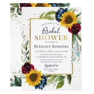 Chic Sunflower Floral Gold Glitter Bridal Shower Invitation