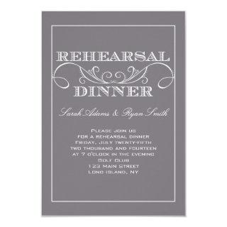 Chic Swirl Gray Rehearsal Dinner Invitation