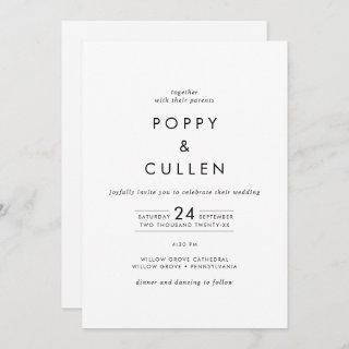 Chic Typography All In One Wedding Invitations