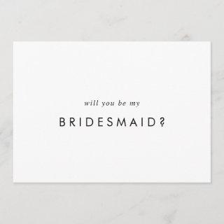 Chic Typography Bridesmaid Proposal Card