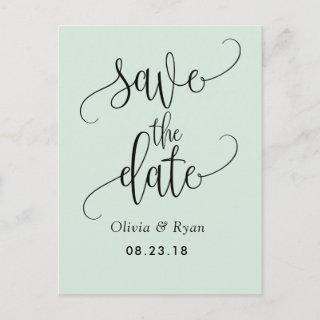 Chic Typography in Mint Green | Save the Date Announcement Postcard