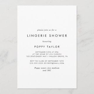 Chic Typography Lingerie Shower Invitations