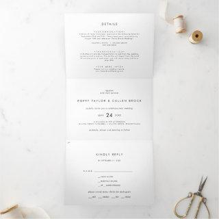 Chic Typography Photo Wedding All In One Tri-Fold Invitations