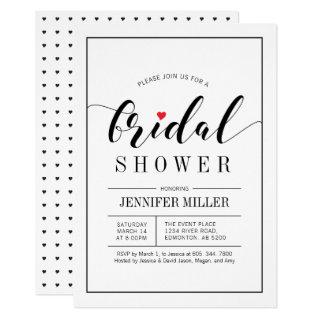 Chic Typography Wedding Bridal Shower Invitations