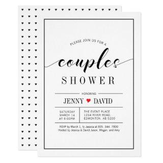 Chic Typography Wedding Couples Shower Invitations