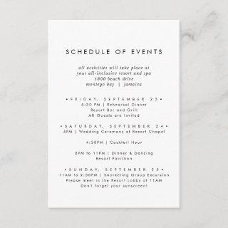 Chic Typography Wedding Weekend Schedule of Events Enclosure Card