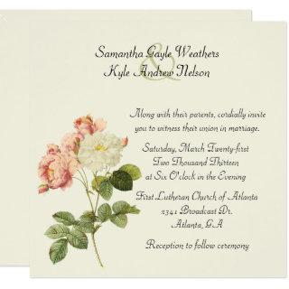 Chic Vintage Roses Wedding Invitations