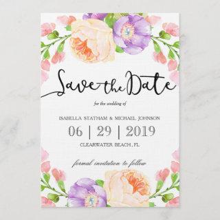 "Chic Watercolor Floral ""Save the Date"" Save The Date"