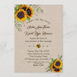 Chic Watercolour Sunflowers Linen Canvas Wedding Invitation
