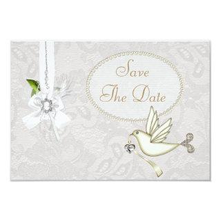 Chic White Dove Paisley Lace Save The Date Invitation
