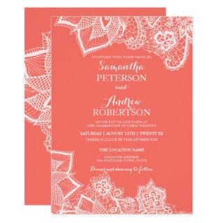 Chic white floral lace bright coral beach wedding Invitations
