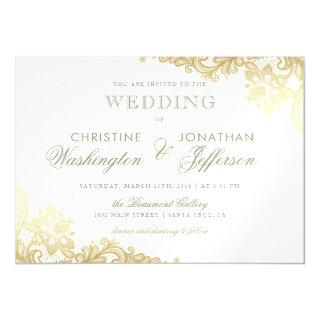 Chic White & Gold Foil Floral Lace Wedding Magnetic Invitations