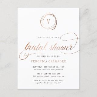 Chic White & Rose Gold Typography Bridal Shower Invitation Postcard