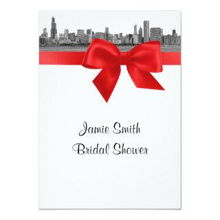Chicago Skyline Etched BW Red Bridal Shower Invitations