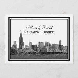 Chicago Skyline Etched Framed #2 H Rehearsal