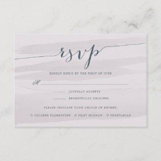 Chiffon RSVP Card w/ Meal Choice | Gray Lilac
