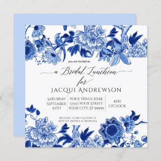 Chinoiserie Bird Blue White Floral Bridal Luncheon