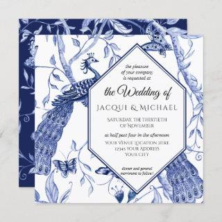 Chinoiserie Navy Blue Peacock Butterfly Hexagon Invitations