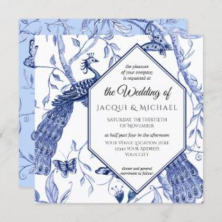 Chinoiserie Navy Blue Peacock Butterfly Hexagon Invitation