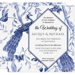 Chinoiserie Navy Blue Peacock Butterfly Wedding Invitations