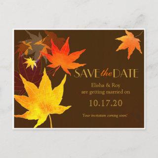 Chocolate Brown Maple Leaf Wedding Save the Date Announcement Postcard