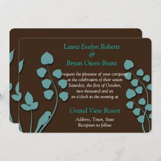 Chocolate Brown & Teal Wedding Invitations