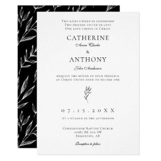 Christian Minimalist Elegant Classic Leaf Wedding Invitation