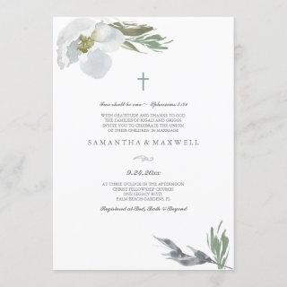 Christian Wedding Cool Grey Watercolor Florals
