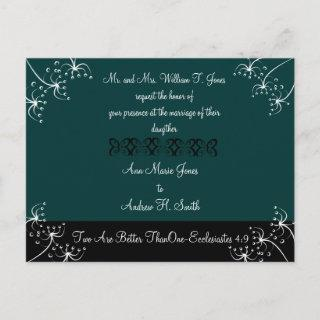 Christian Wedding Invitations Deep Teal