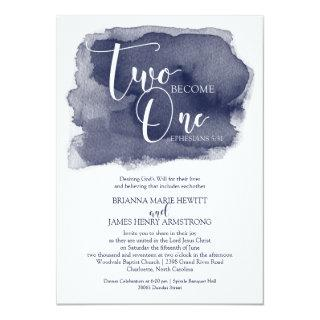 Christian Wedding Invitations - Watercolor Navy