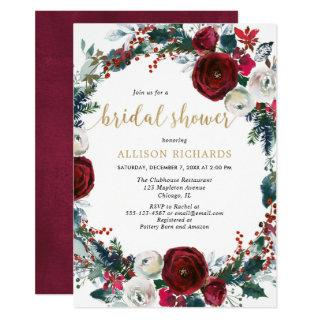 Christmas bridal shower burgundy gold elegant Invitations