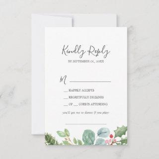 Christmas Greenery & Berry Song Request RSVP Card