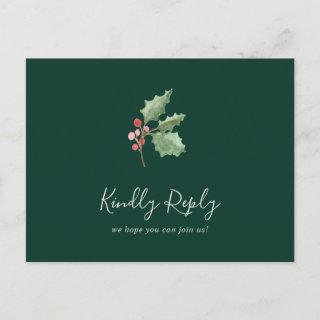 Christmas Greenery Green Song Request RSVP Invitations Postcard