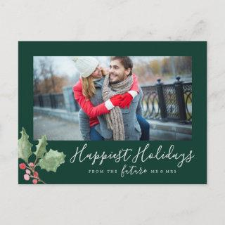 Christmas Greenery Happiest Holidays Save the Date Holiday Postcard