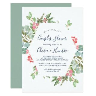 Christmas Greenery & Red Berry Couples Shower Invitations