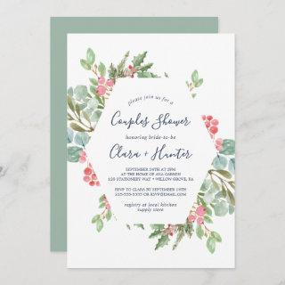 Christmas Greenery & Red Berry Couples Shower Invitation