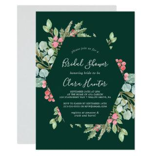 Christmas Greenery & Red Berry Green Bridal Shower Invitations