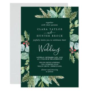 Christmas Greenery & Red Berry | Green Wedding Invitations
