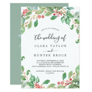 Christmas Greenery & Red Berry The Wedding Of Invitations