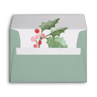 Christmas Greenery & Red Berry Wedding Invitation Envelope
