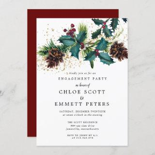 Christmas Holly and Berries Engagement Party Invitations