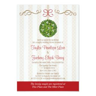 CHRISTMAS MISTLETOE COUPLES WEDDING SHOWER INVITATION