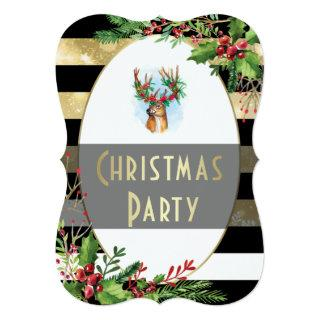 Christmas Party | Holly Wreathed Reindeer Antlers Invitation