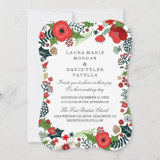 Christmas Red & Green Floral Wedding Invitations
