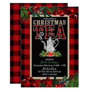 Christmas Tea Party Rustic Red Black Buffalo Plaid Invitations