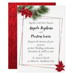 Christmas Wedding Invitations with Poinsettia