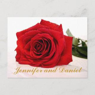 Christmas Wedding Save the Date Red Rose Announcement Postcard