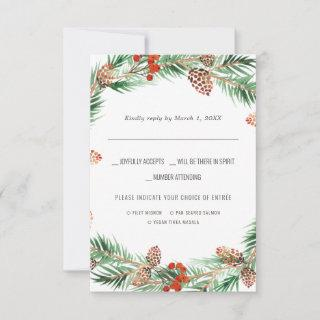 Christmas Wedding | Watercolor RSVP w/Meal Choice