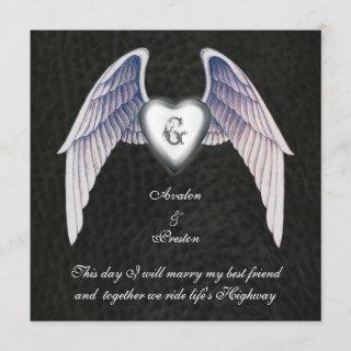 Chrome & Faux Leather Winged Heart Invitations
